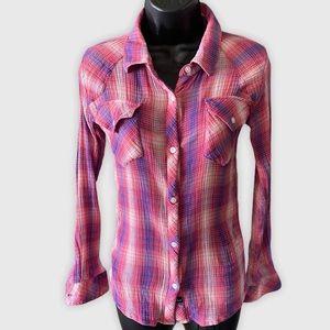 Rails Cotton Plaid Button Down Pink XS
